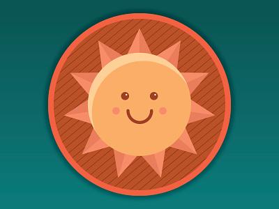 Sun Badge kawaii art badge sun digital vector illustration