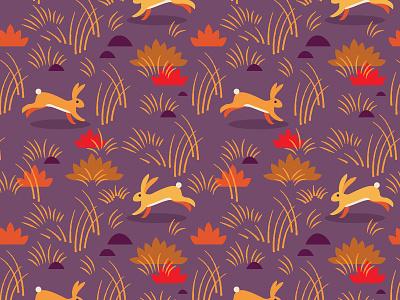 Rabbit pattern running field grass rabbit surface pattern surface design pattern digital vector illustration