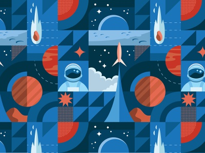 Space Pattern moon astronaut rocket space pattern surface pattern surface design digital vector illustration