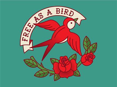 Free as a Bird rose bird tattoo digital vector illustration