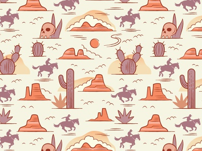 Wild West Pattern surface pattern surface design pattern desert cowboy western west digital vector illustration