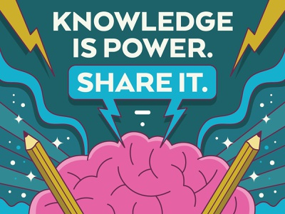 Knowledge is Power brain power ideas thinkific brain power knowledge vector illustration