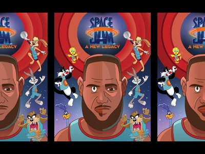 Space Jam: A New Legacy movie cartoon poster space space jam lebron looney tunes looney sports nba basketball digital vector illustration