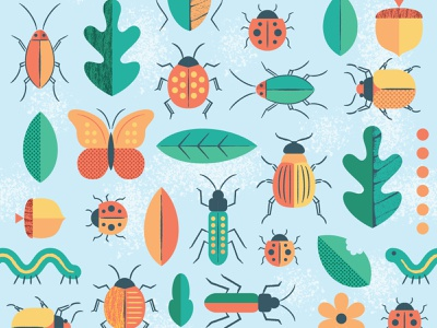 Bug Pattern beetles bugs insects textures retro surface pattern pattern vector illustration