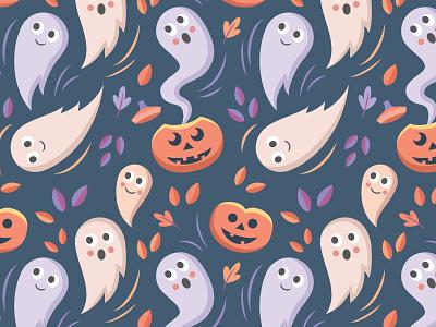 Pastel Halloween Pattern surface pattern pattern jack-o-lantern pumpkins ghosts halloween digital vector illustration