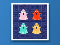 Pac-Man Ghost print
