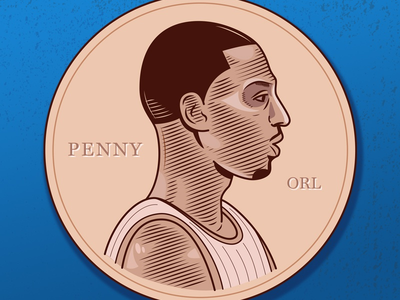 Penny illustration penny hardaway digital engraving vector orlando magic magic hoops basketball nba penny