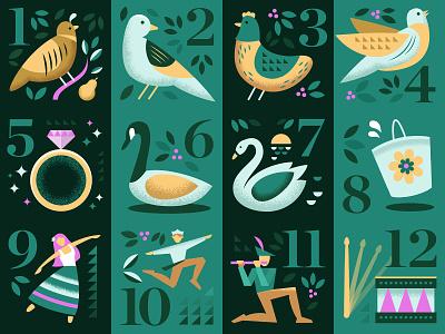 12 Days of Christmas Set holidays holiday christmas card christmas set collection digital vector illustration