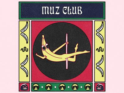 muz club illustration afterwork banana club banana