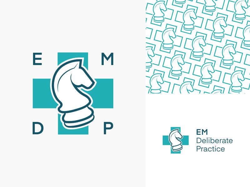 EM Deliberate Practice   Visual Identity visual identity logo design brand identity pattern toronto branding logo med chess cross knight
