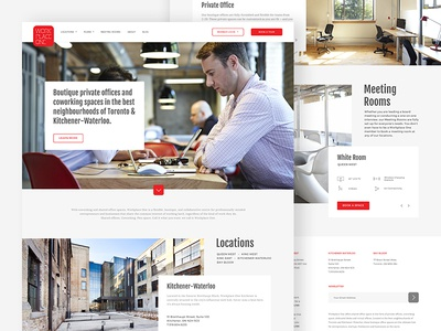 Workplace One   Website web design ux ui toronto template space site layout homepage elegant co-working clean