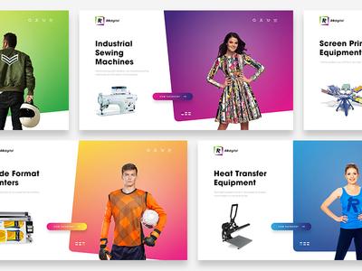 RBDigital   Landing Page Screens web design landing page website ui screens models machines gradient e-commerce design colour clean