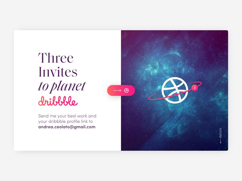 Three Dribbble Invites portfolio talent community best work three planet invitation dribbble invite giveaway invites 3