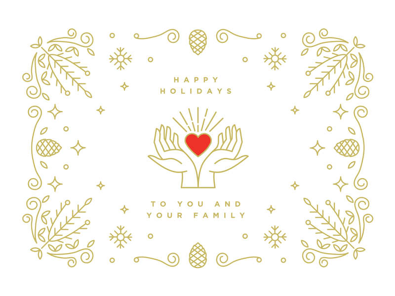 Happy Holidays white red gold holiday card new year 2019 hands 2019 heart happy holidays