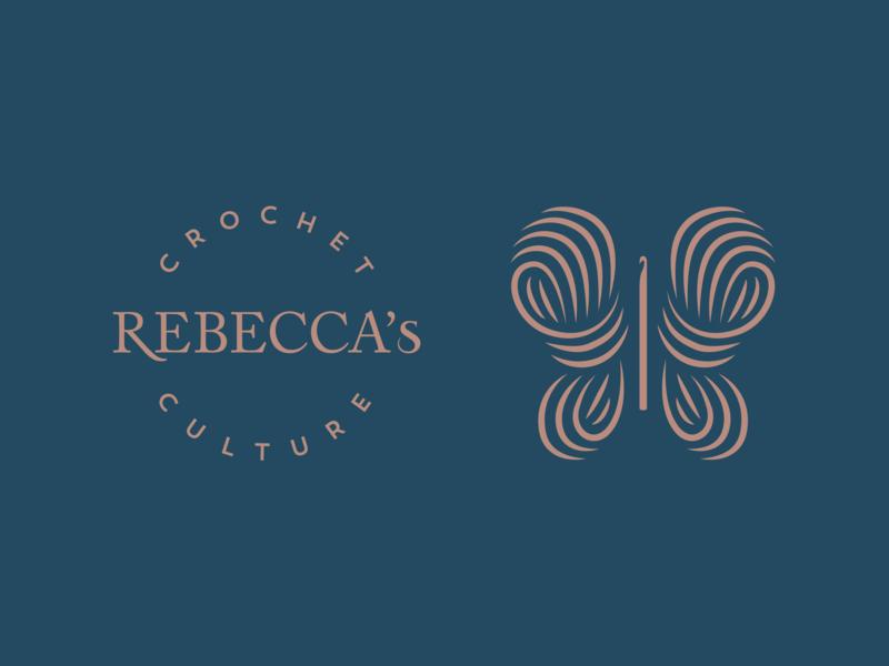 Rebecca's Crochet Culture   Branding symbol design identity logotype logo handmade trademark type typography brandidentity branding crochet work yarn wool butterfly culture crochet rebecca
