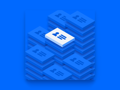Stacks of Contacts illustration leadpages isometric