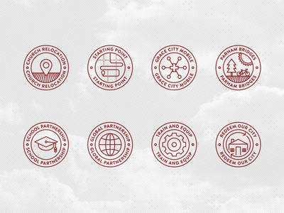 Grace Project icons illustration logo badge line house map globe gear park monoweight