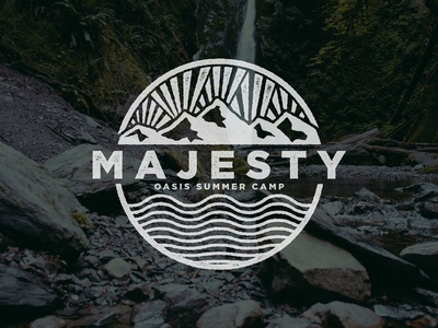 Majesty Summer Camp badge church camp summer water waves rays sun mountains majesty
