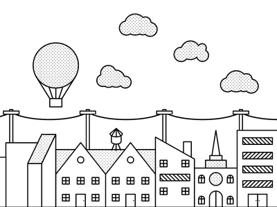 Community WIP line buildings hot air balloon wire clouds