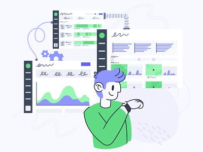 Real-time video data editorial illustration web design product design analytics illustration product illustration