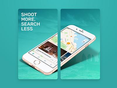 PIXEO App Store Screenshots mobile ui ux design geotag camera photo pixeo screenshots store app
