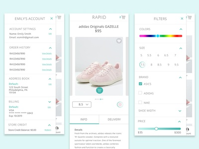 Mobile Screens- Rapiid product detail mobile filters category account shop ecommerce