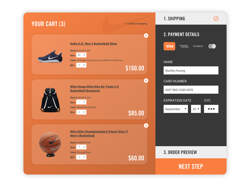 Daily UI #002 - Credit Card Checkout daily ui shopping ux ui ecommerce checkout credit card card credit shop nike