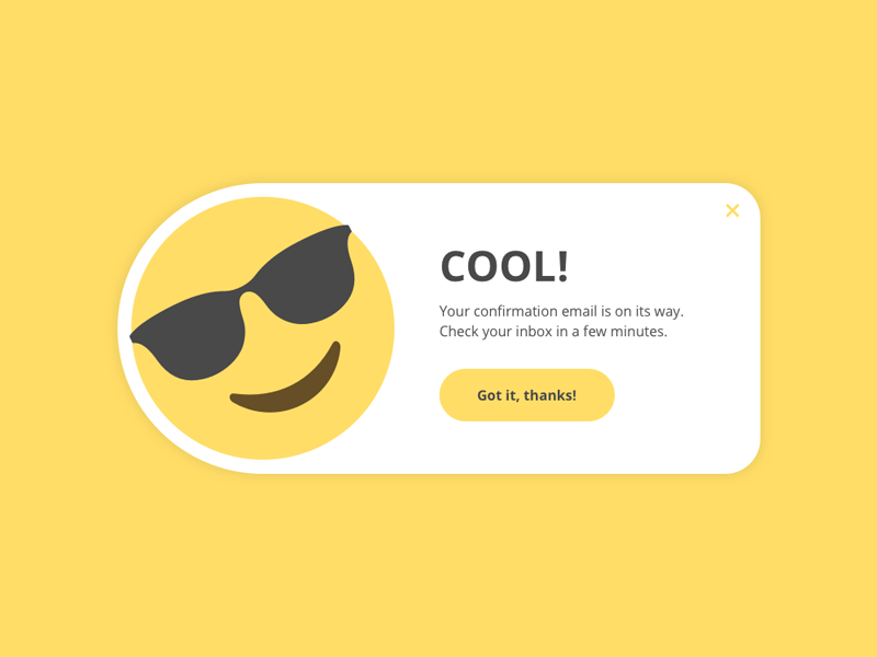 Daily UI #016 - Pop-Up / Overlay ux ui daily ui email confirmation emoji overlay popup