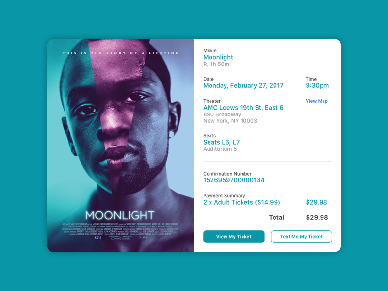 Daily UI #017 - Email Receipt ux ui daily ui ticket movie receipt email