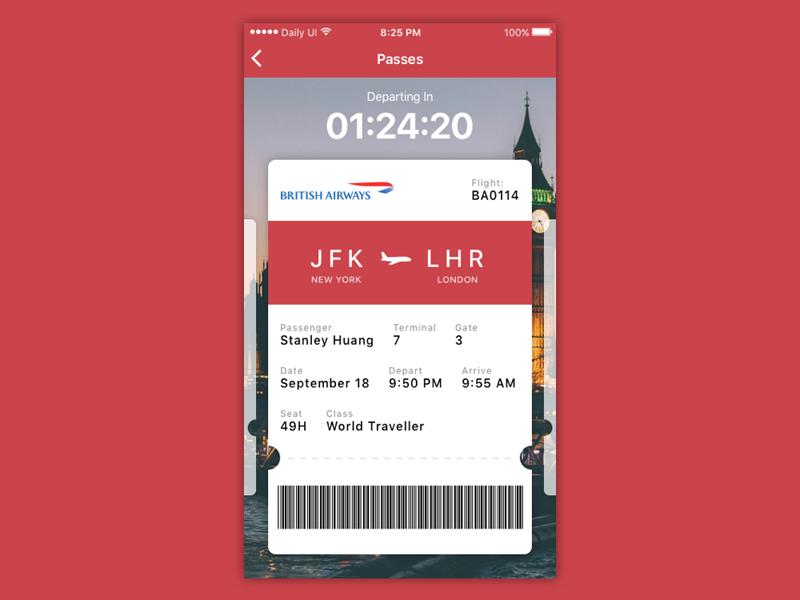 Daily UI #024 - Boarding Pass pass timer flight ticket boarding pass ux ui daily ui