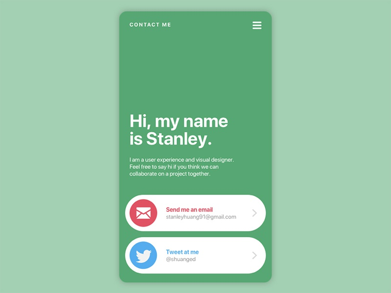Daily UI #028 - Contact ux ui daily ui about bio contact