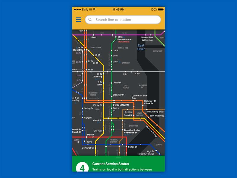 Daily UI #029 - Map ux ui alert mta train daily ui map