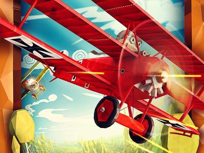 Warplane Legends / Icon design world war low poly red baron shoot combat fighter war aircraft plane lowpoly legends warplane