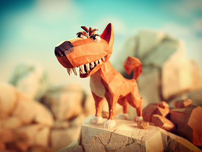 Wombat rescue // the evil Dingo low poly character papercraft papercut paper animal faceted face lowpoly game rescue wombat