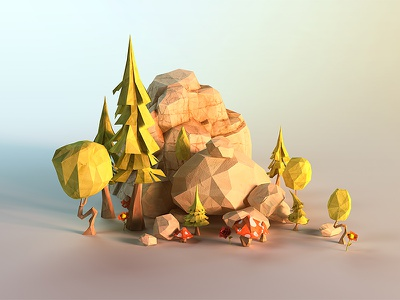 lowpoly rocks low poly design character papercraft papercut paper faceted face lowpoly giants power