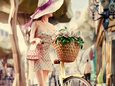 "World in Facets: Paris / ""Promenade du matin"" fashion low-poly lowpoly illustration paris city facets"