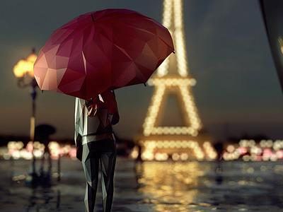 """World in Facets: PARIS / """"lumières de la nuit"""" paris illustration city geometric facets low-poly lowpoly"""