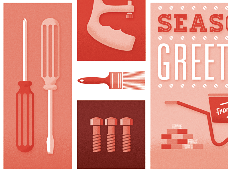 toolbox tools screwdriver illustration construction vector typography texture noise grain red greetings monochromatic card