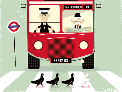 All Aboard bus illustration textured vector retro vintage london british mid-century