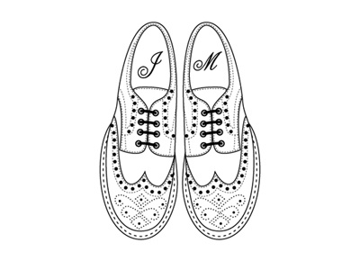 brogues brogues shoes illustration line drawing black  white minted simple