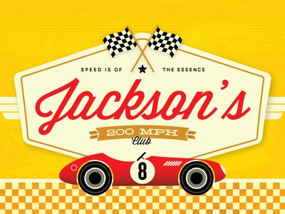 Speed Freak minted illustration vector competition speed car vintage typography wisdom script yellow red racing