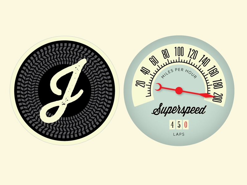 Speed Freak Bunting banner initial typography illustration vintage odometer speedometer racing minted wisdom script thirsty rough tire
