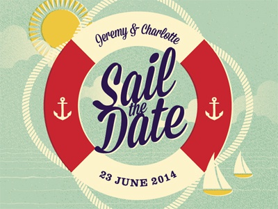 save the date wedding invite save the date minted challenge illustration mid-century texture water ocean