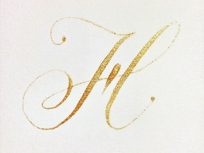 H calligraphy watercolour gold copperplate modern calligraphy pointed pen hand lettering