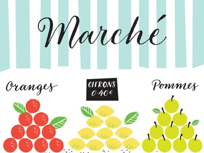Market Day hand lettering food illustration vector illustrator retro calligraphy lettering mid-century illustration
