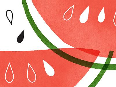 watermelon food illustration texture vector illustrator retro mid-century illustration