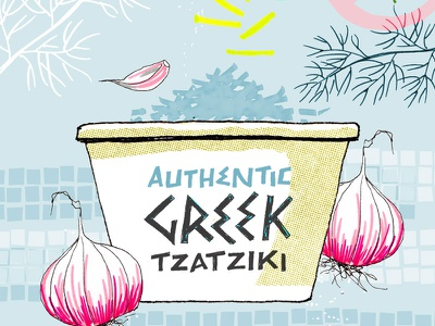 Illustrated recipe for tzatziki hand lettering digital illustration food illustration illustrated recipe lettering photoshop illustration