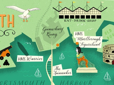 Historic Portsmouth Illustrated Map hand lettering digital illustration map illustration illustrated map lettering photoshop textures illustration