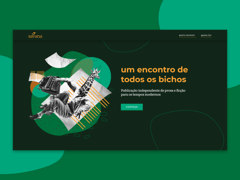 Home Page #Savana welcome hero landing page animal collage publishing website ux ui web design