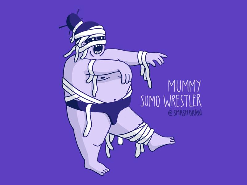 The Mummy Sumo Wrestler 💀🇯🇵 character sumowrestler mummy procreate illustration character illustration character design